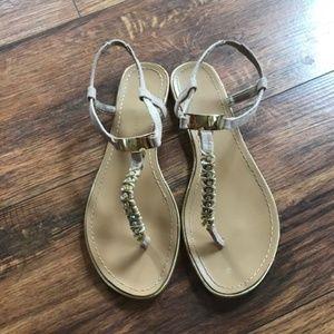 Madden Girl gold T-strap sandals 7.5